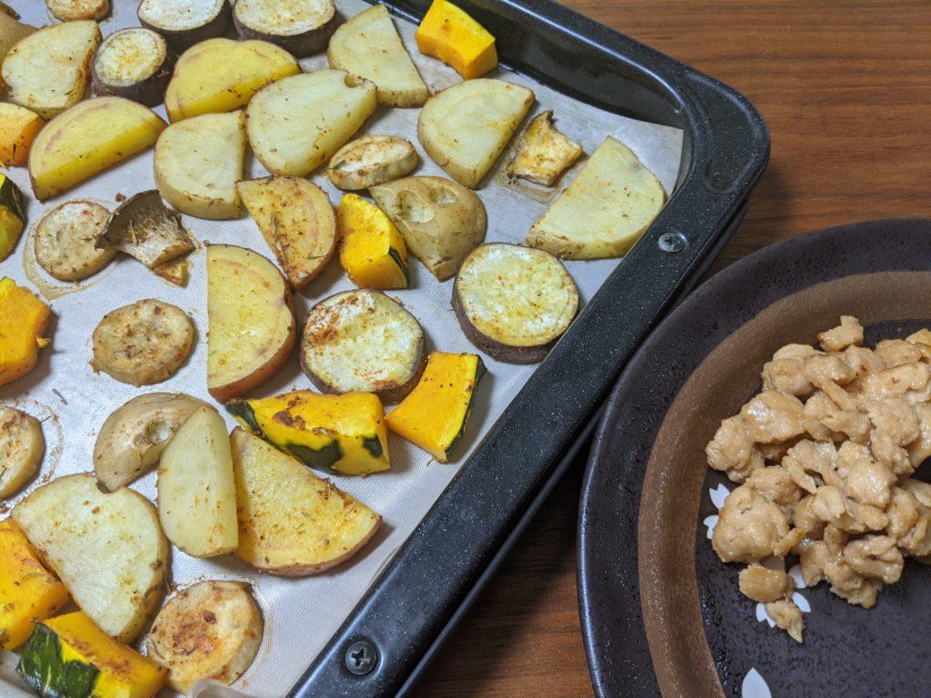 焼き野菜と大豆唐揚げ
